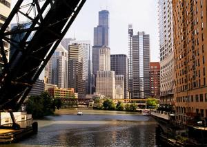 Chicago River and Bridges Photo